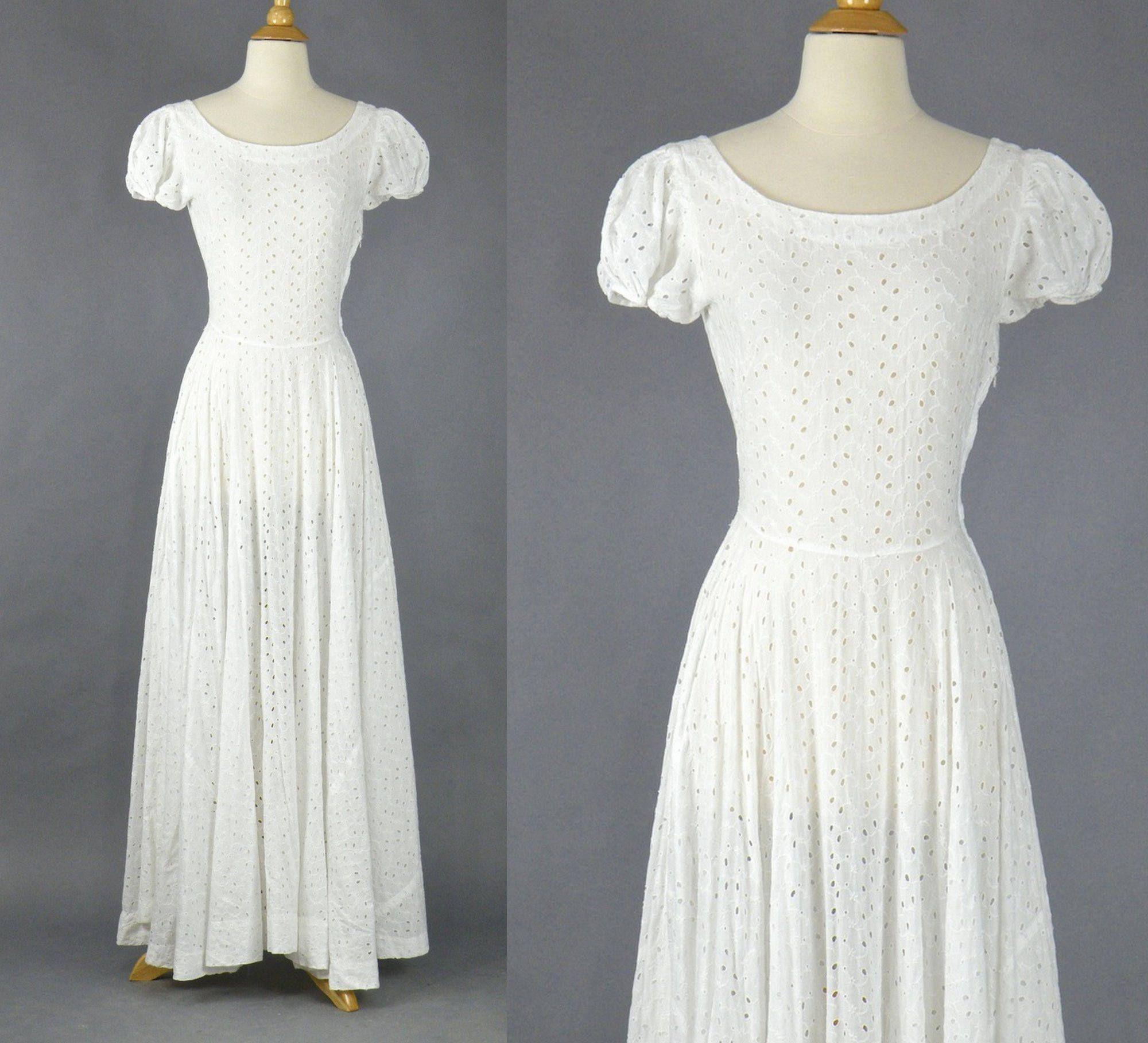 1940s White Eyelet Dress Vintage 40s Cotton Wedding