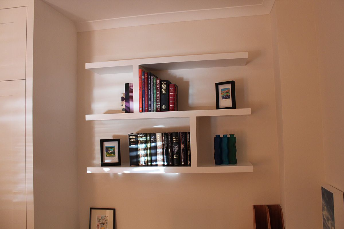 Floating Bookshelves fitted wardrobes and bookcases in london, shelving and cupboards