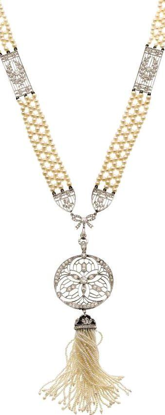 Edwardian Diamond, Seed Pearl, Enamel, Platinum, Gold Sautoir, French