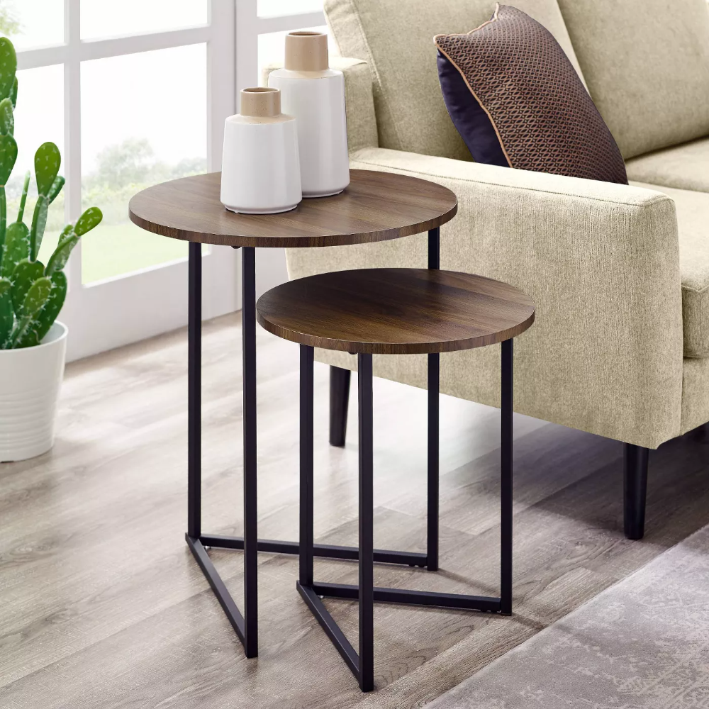 2pc Glam V Leg Nesting Side Tables Saracina Home Table Decor Living Room Side Table Decor Living Room Side Table [ 1000 x 1000 Pixel ]