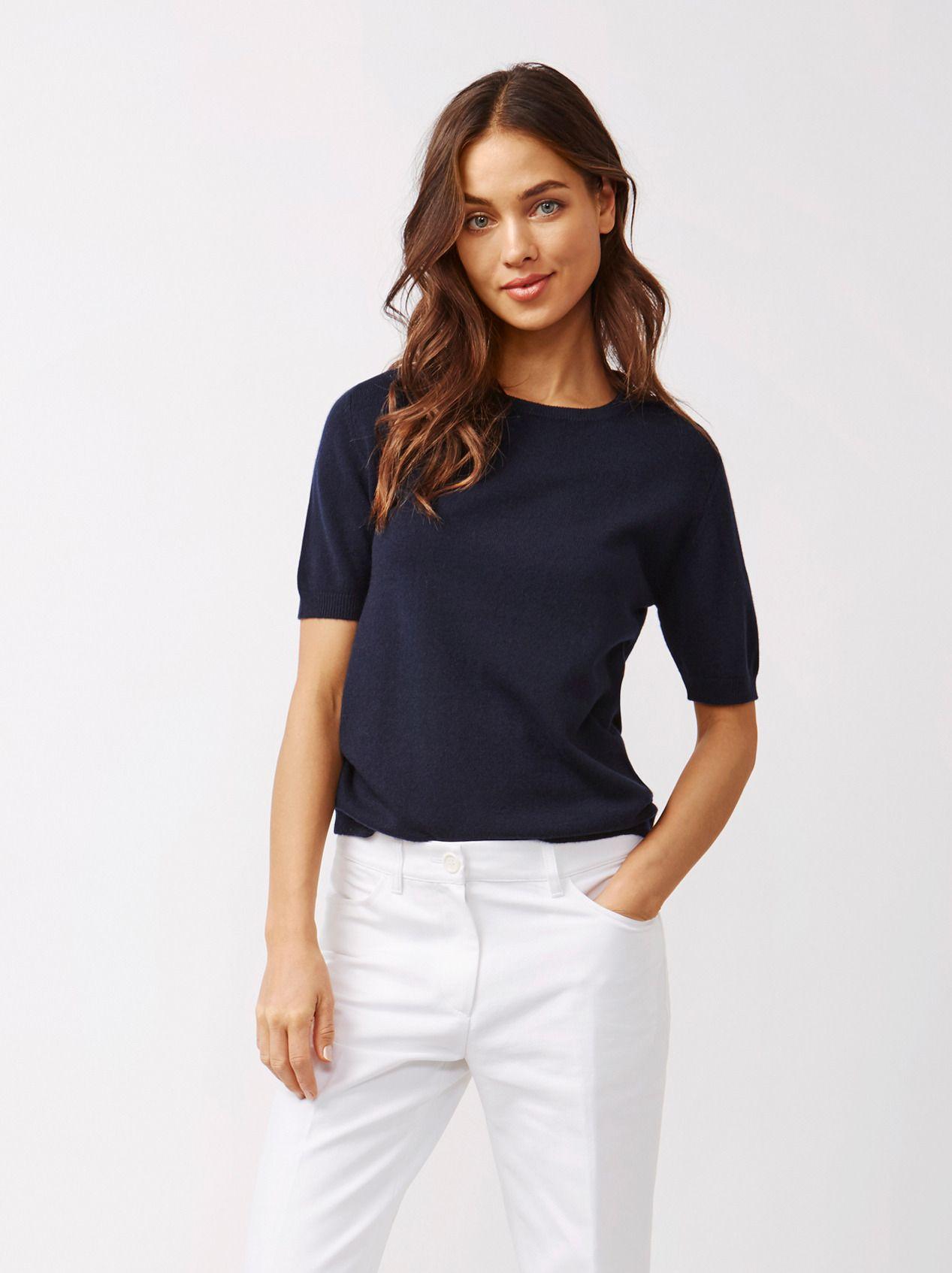 89f9b6018 Soft Goat Women's Short Sleeve O-Neck Navy | Cashmere o stickat ...