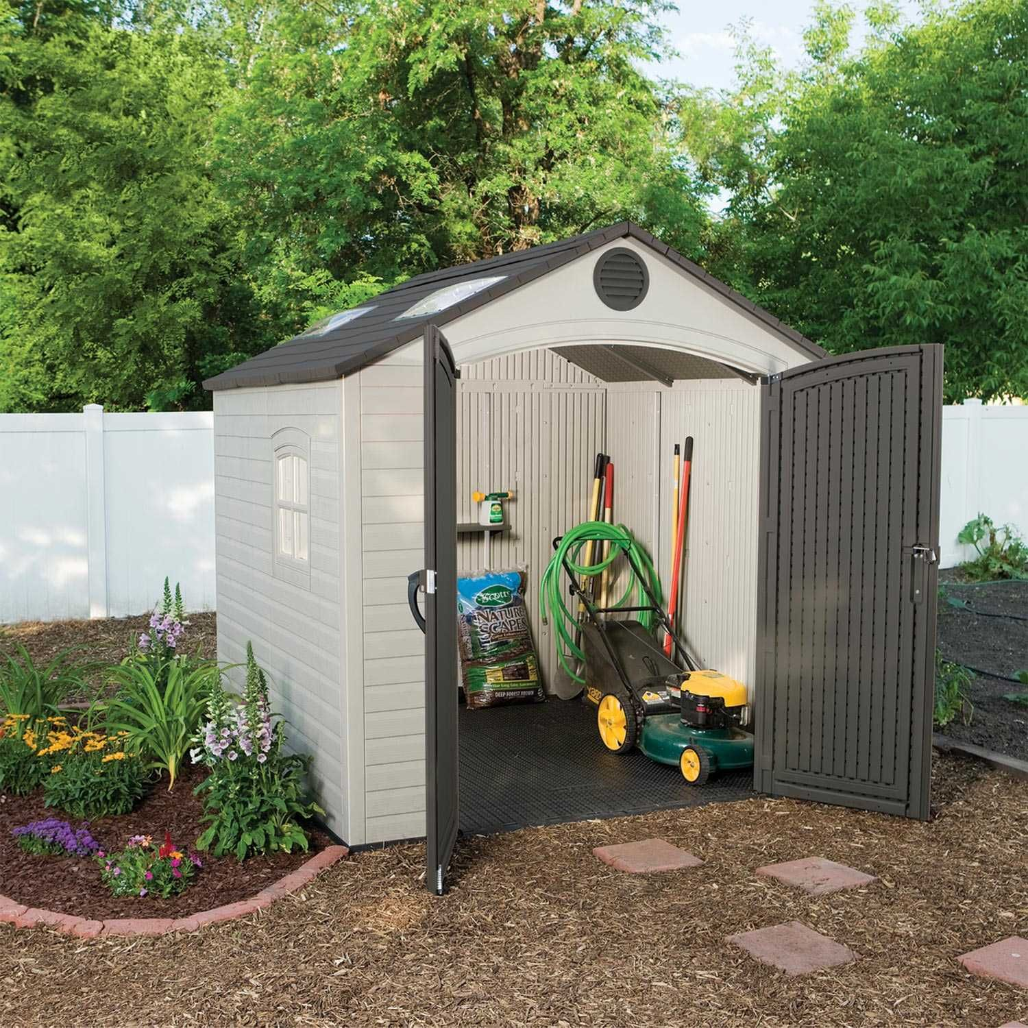 60015 53 Square Ft 362 Cubic Ft The Lifetime 8 X 7 5 Outdoor Storage Shed Features 2 Large Skyl Garden Storage Shed Shed Landscaping Plastic Sheds