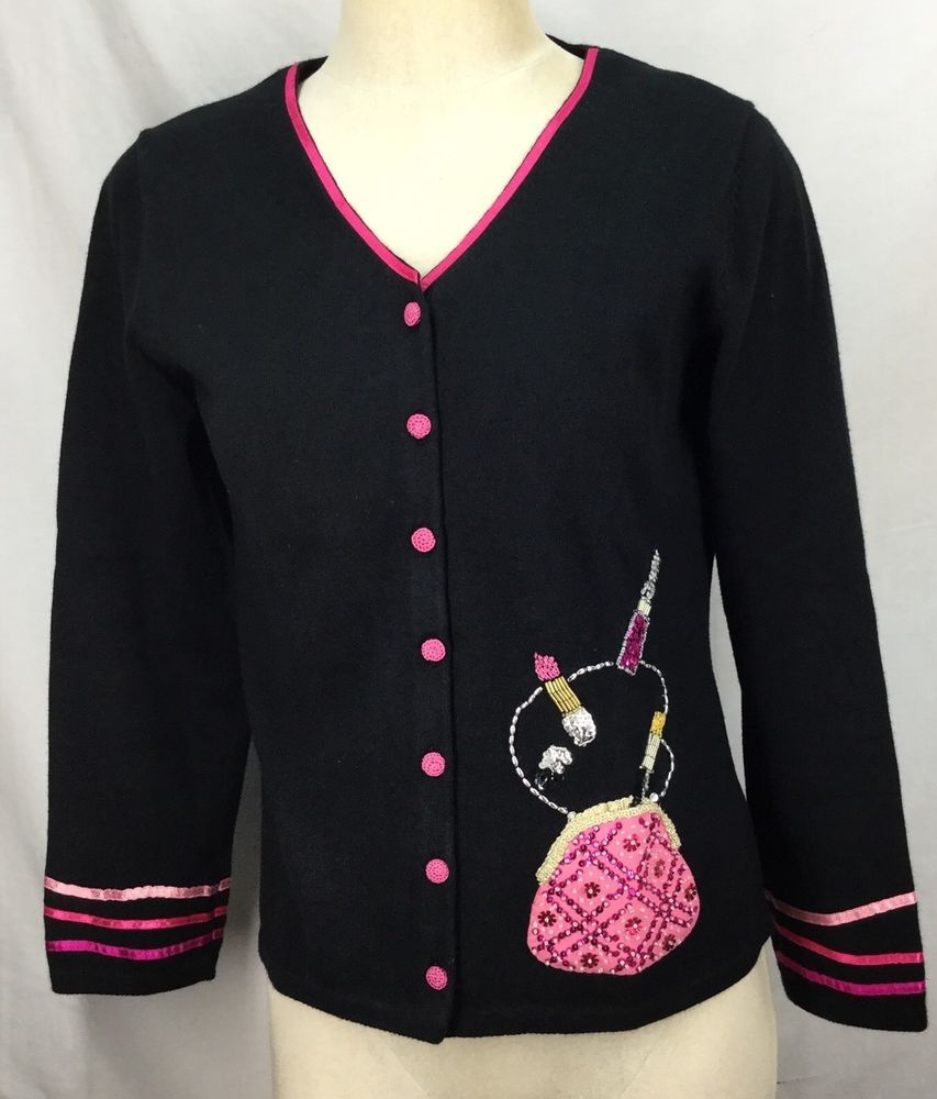 Michael Simon Sweater Ladies size Small Black Pink Pretty Cardigan ...