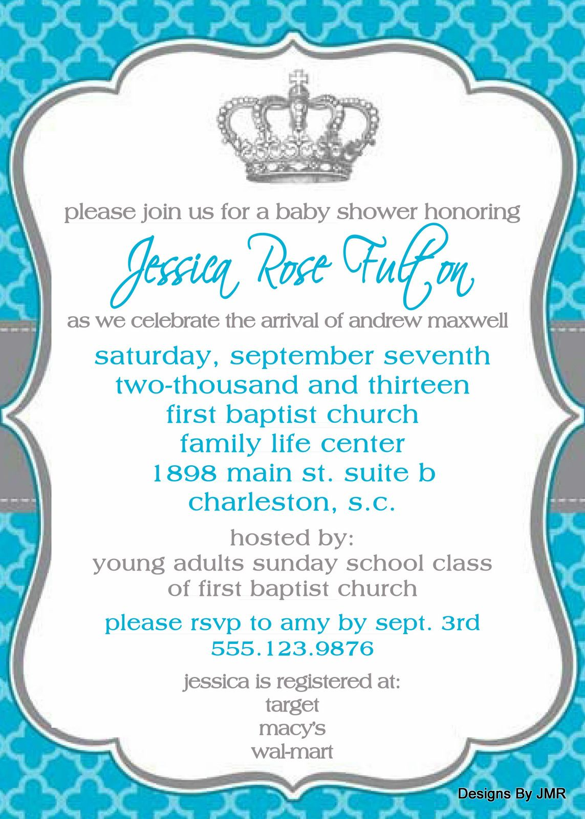 baby boy shower invite prince theme 5x7 available only from