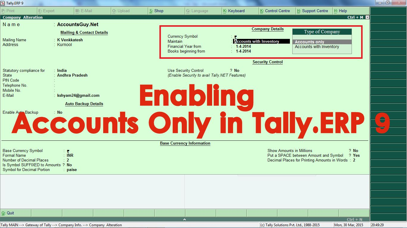 How to enable accounts only for a company in tallyp 9 in order explore website and more fandeluxe Choice Image