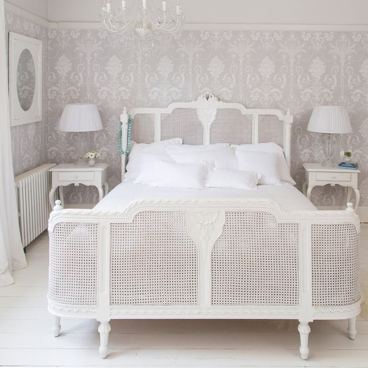 Luxury White French Rattan Bed In A Clean Off White Room French