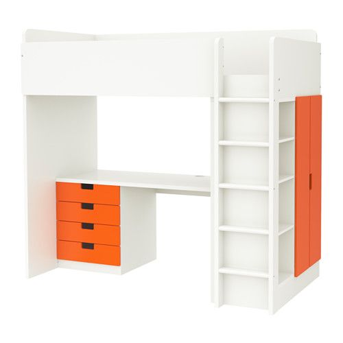 STUVA Hochbettkomb 4 Schubl\/2 Türen, weiß, orange Loft beds - hochbett mit schreibtisch 2