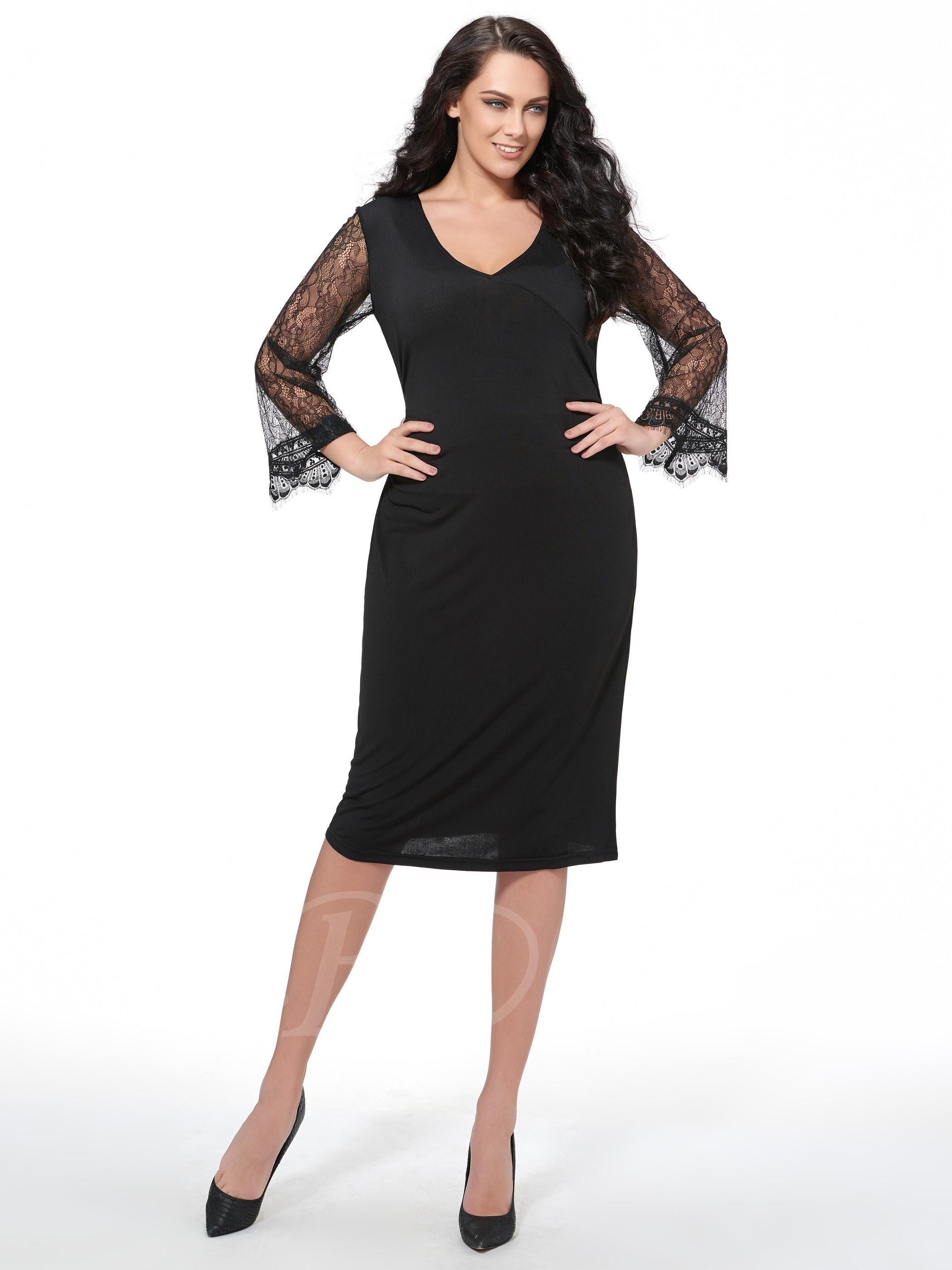 Lace dress styles for funeral  TBDress  TBDress Black V Neck Lace Patchwork Womens Plus Size Dress