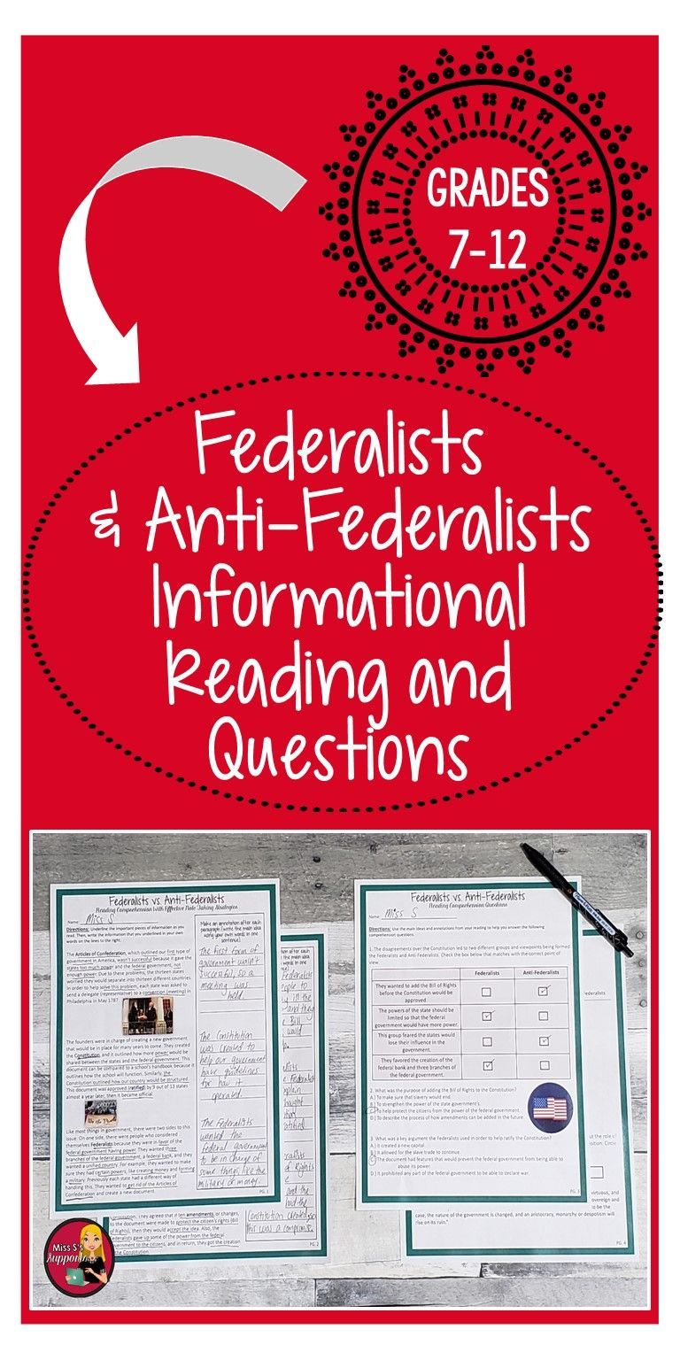 Federalists And Anti Federalists Reading Comprehension Constitution U S Social Studies Middle School Informational Reading Social Studies Elementary [ 1536 x 768 Pixel ]
