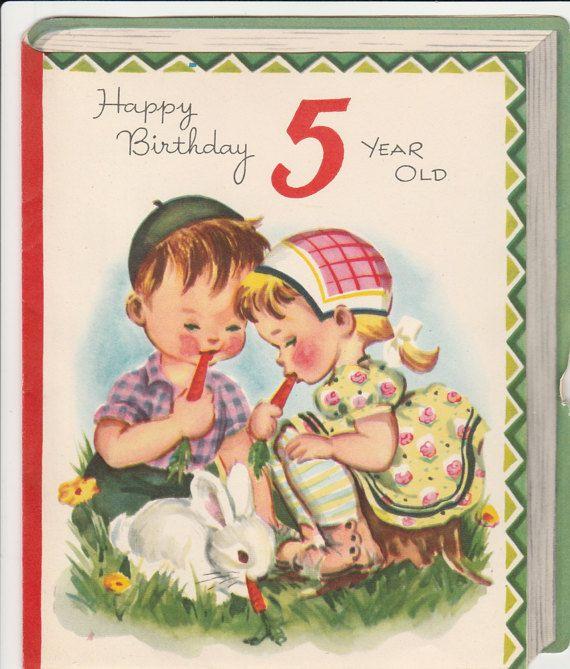 1950s Birthday Card For 5 Year Old 5th Hallmark Children