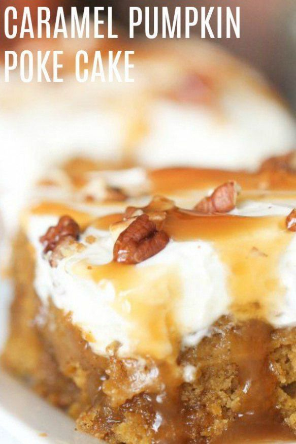 Caramel Pumpkin Poke Cake | Six Sisters' Stuff Nothing tastes more like fall than this delicious and simple Caramel Pumpkin Poke Cake. The pumpkin spice flavor combines with the sweet caramel and gives you a taste of the holidays. You need to try this.