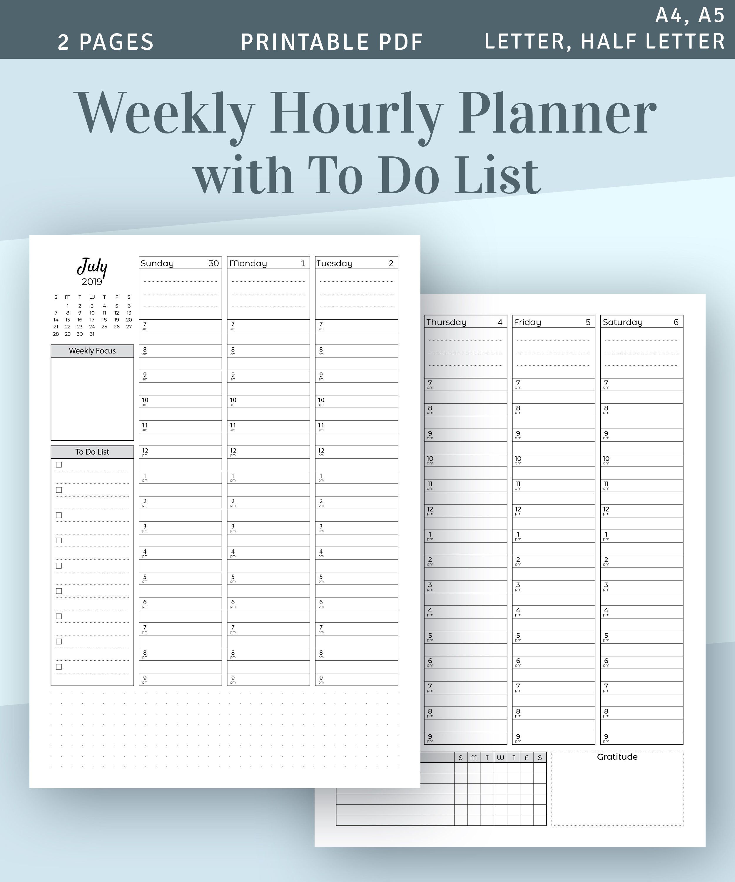 Weekly Planner 2019 2020 Printable Weekly Agenda Template Week