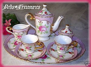 PASTEL PINK ROSES CHILD MINIATURE TEA SET WITH TRAY