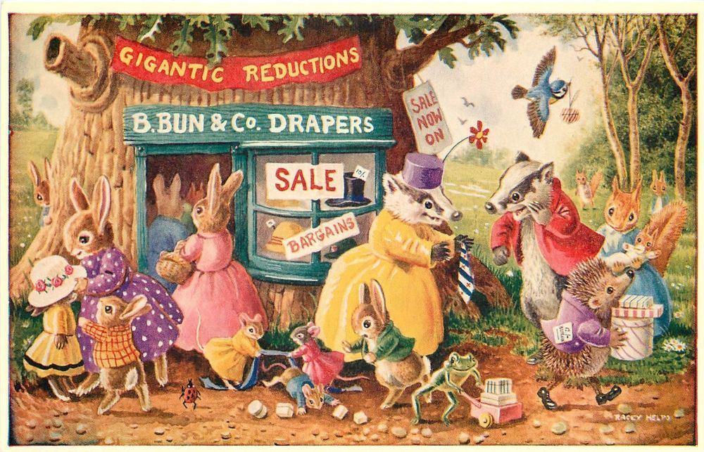 Vintage Racey Helps Postcard 276, Anthropomorphic Animals' Store, The Sale