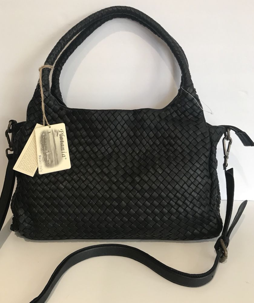 Woven Leather HOBO BLACK Tote MADE IN ITALY Shoulder Purse NWT  purses   fashion 888bac498938f
