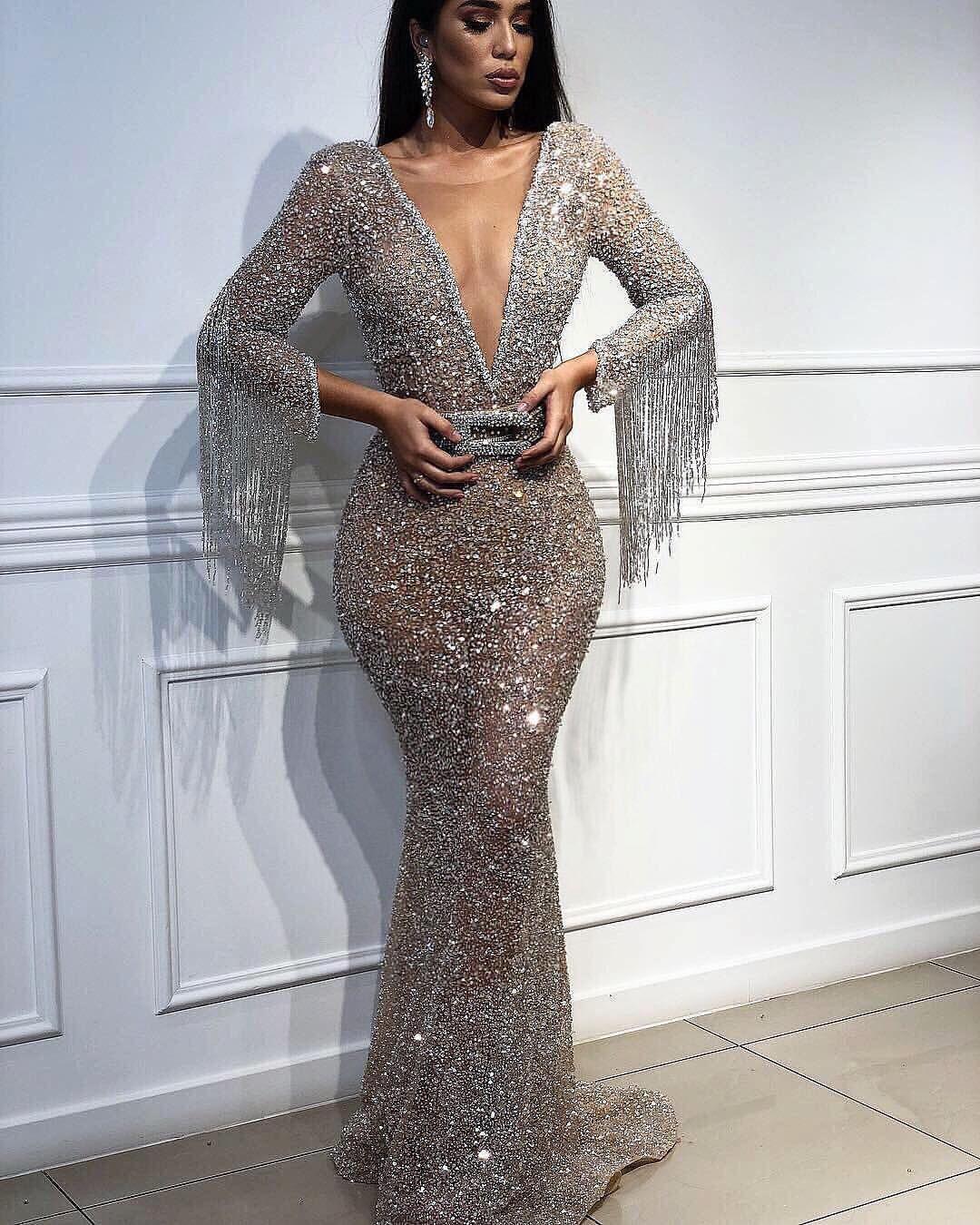 Mermaid Party Dresses Womens Vintage Deep-V Beaded Formal Evening Dress