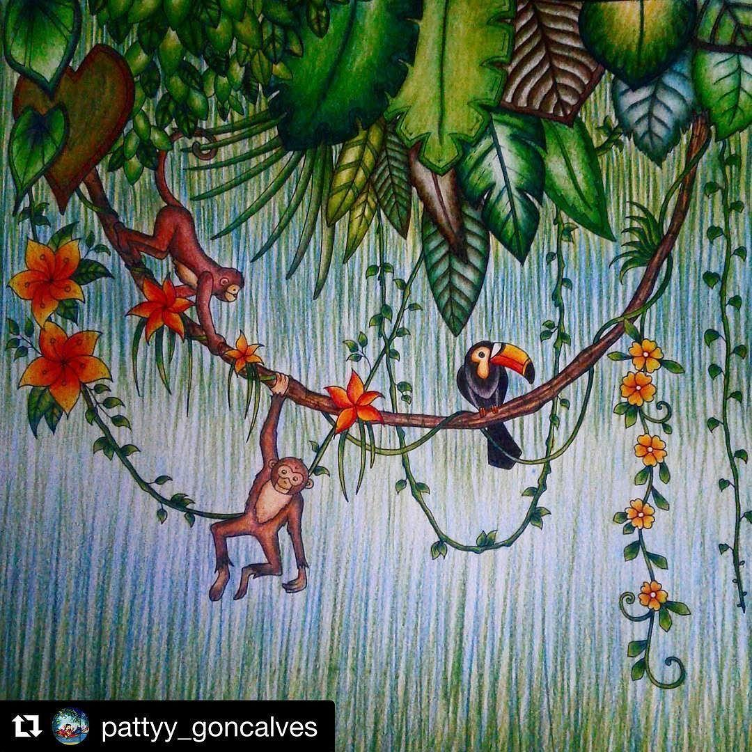 Bonito Páginas Para Colorear De La Selva Mágica Ornamento - Dibujos ...
