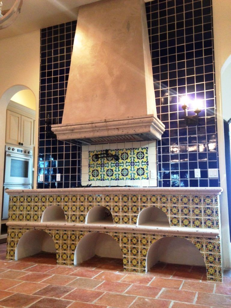 Image result for solid tile with mexican tile insets kitchen tiles