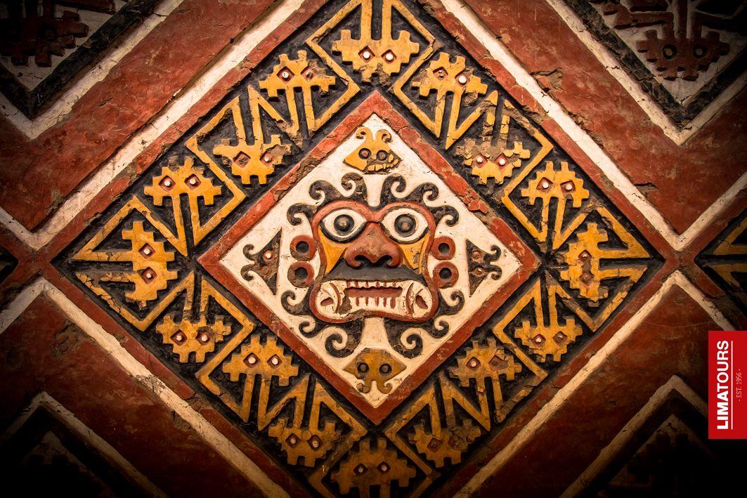 Artistic design in one of the walls of Huaca de la Luna of the Mochica Culture, located in La Libertad.