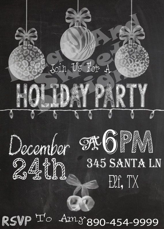 5 X 7 Printable Holiday Party Chalkboard Invitation Christmas – Custom Holiday Party Invitations