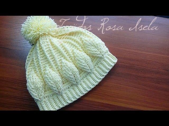 Gorro con hojas en relieve crochet | Crochet | Pinterest | Crochet ...