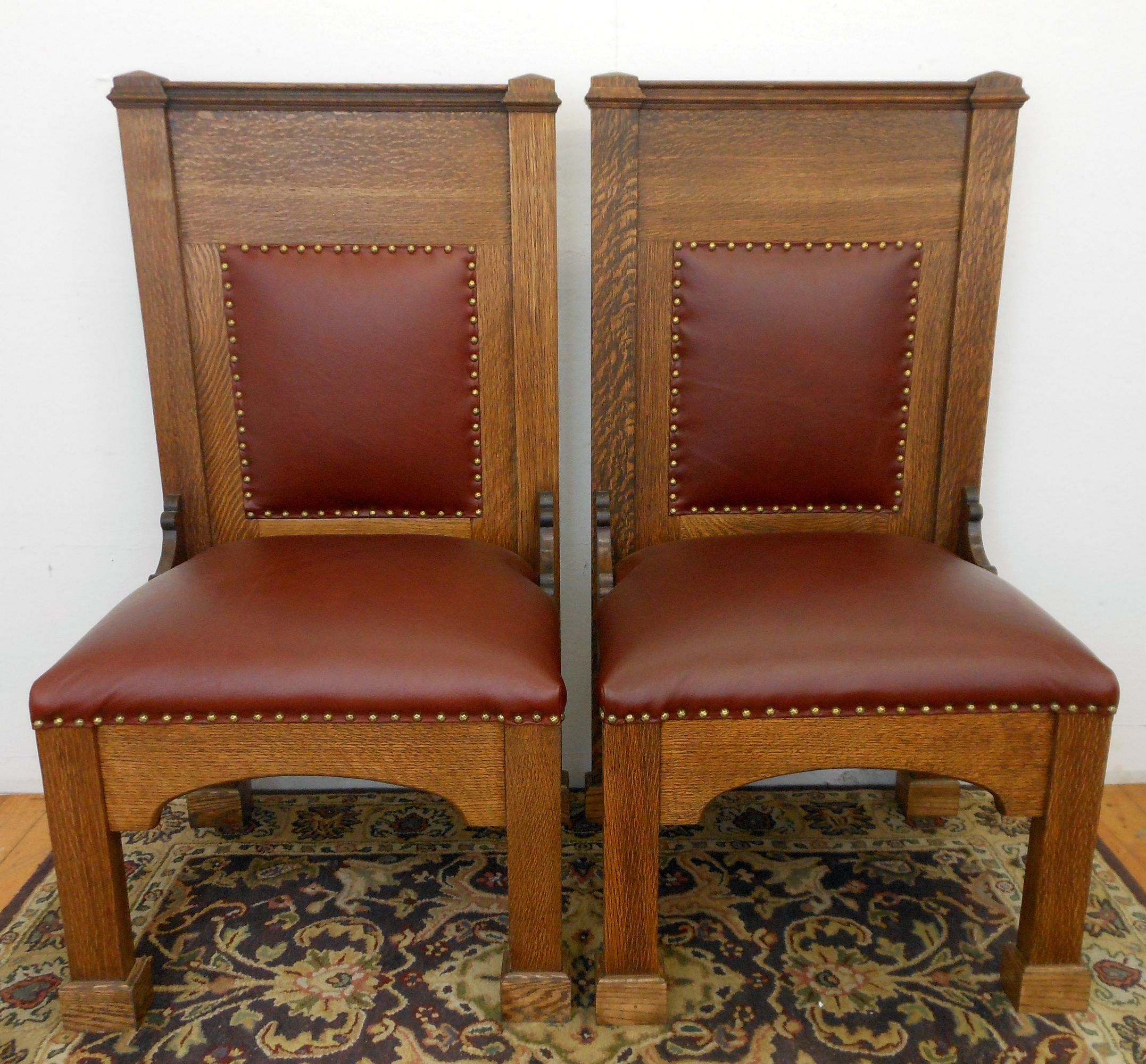 Antique Gothic Style Quarter Sawn Oak Chair Leather High Back Throne