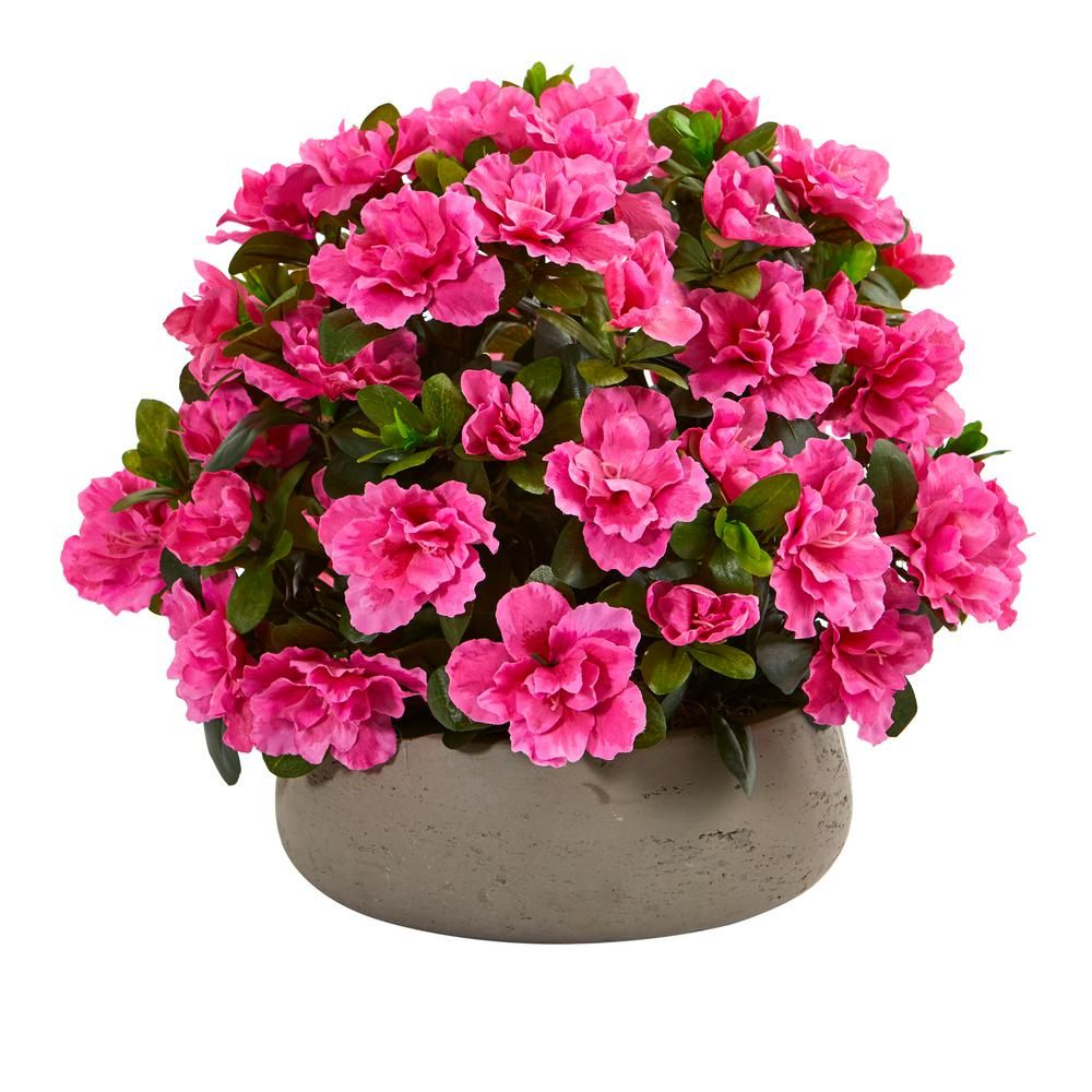 Nearly Natural Indoor Azalea Artificial Plant in Stone