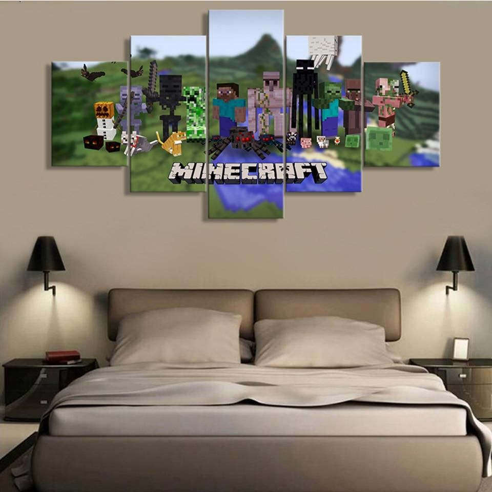 Minecraft game posters canvas print 5 pieces in 2020