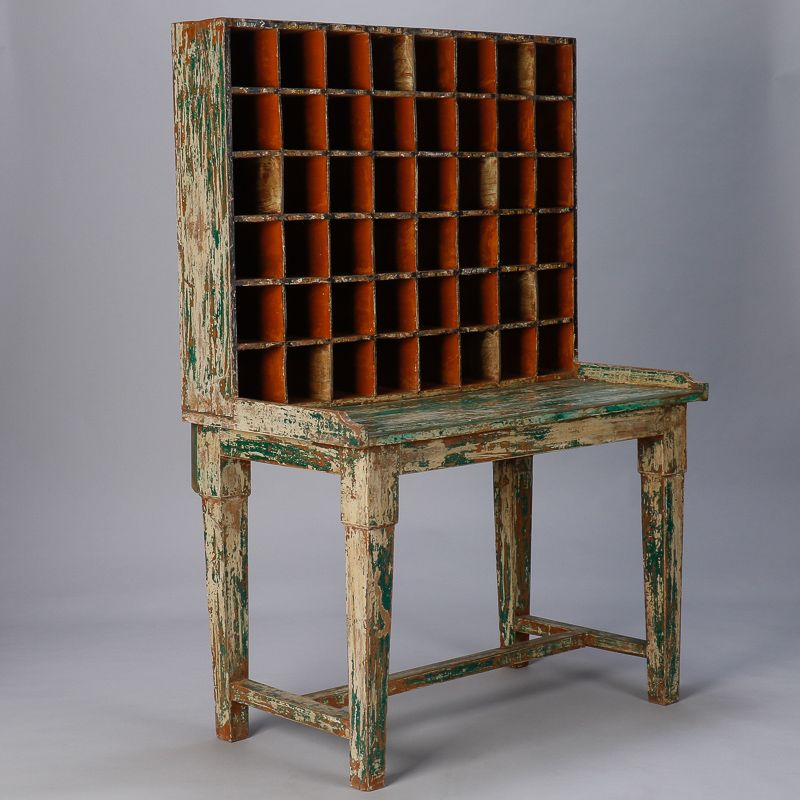 Primitive Painted Post Office Desk -- Circa 1900 postal sorting desk with  attached mail compartments - Primitive Painted Post Office Desk -- Circa 1900 Postal Sorting