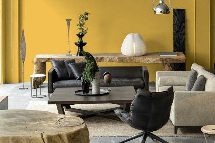 minimalistisch wohnen wohnideen wohnzimmer gelbe wand ...
