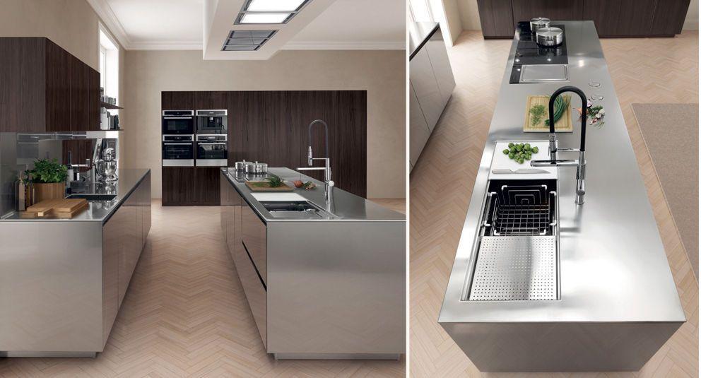 Cocina moderna / de acero inoxidable / con isla - FILOFREE STEEL ...