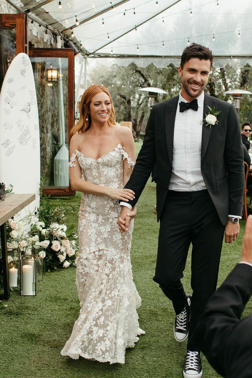 Exclusive See Brittany Snow And Tyler Stanaland S Wedding Photos Snow Wedding Dress Mermaid Wedding Dress Winter Wedding Dress