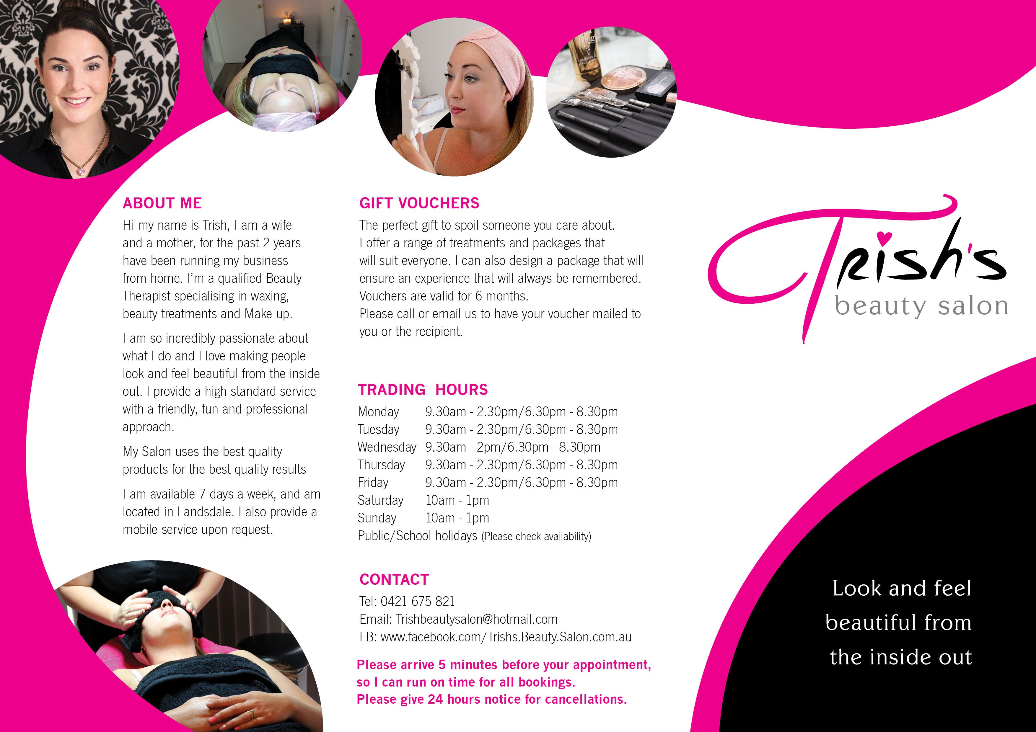 new leaflet for trish u0026 39 s beauty salon  outside