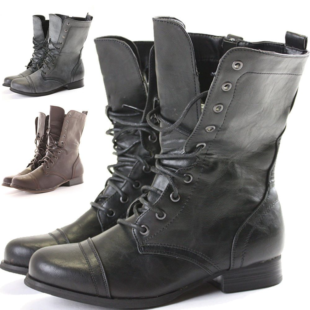 Womens Combat Style Army Worker Military Ankle Boots Flat ...