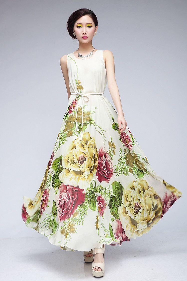 Classics Design Hot Luxury Elegant Flower Pattern Sleeveless Round ...