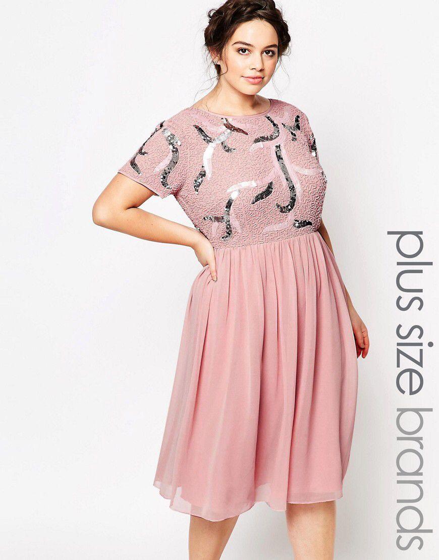Lovedrobe Luxe Embellished Prom Skater Dress With Plunge Back