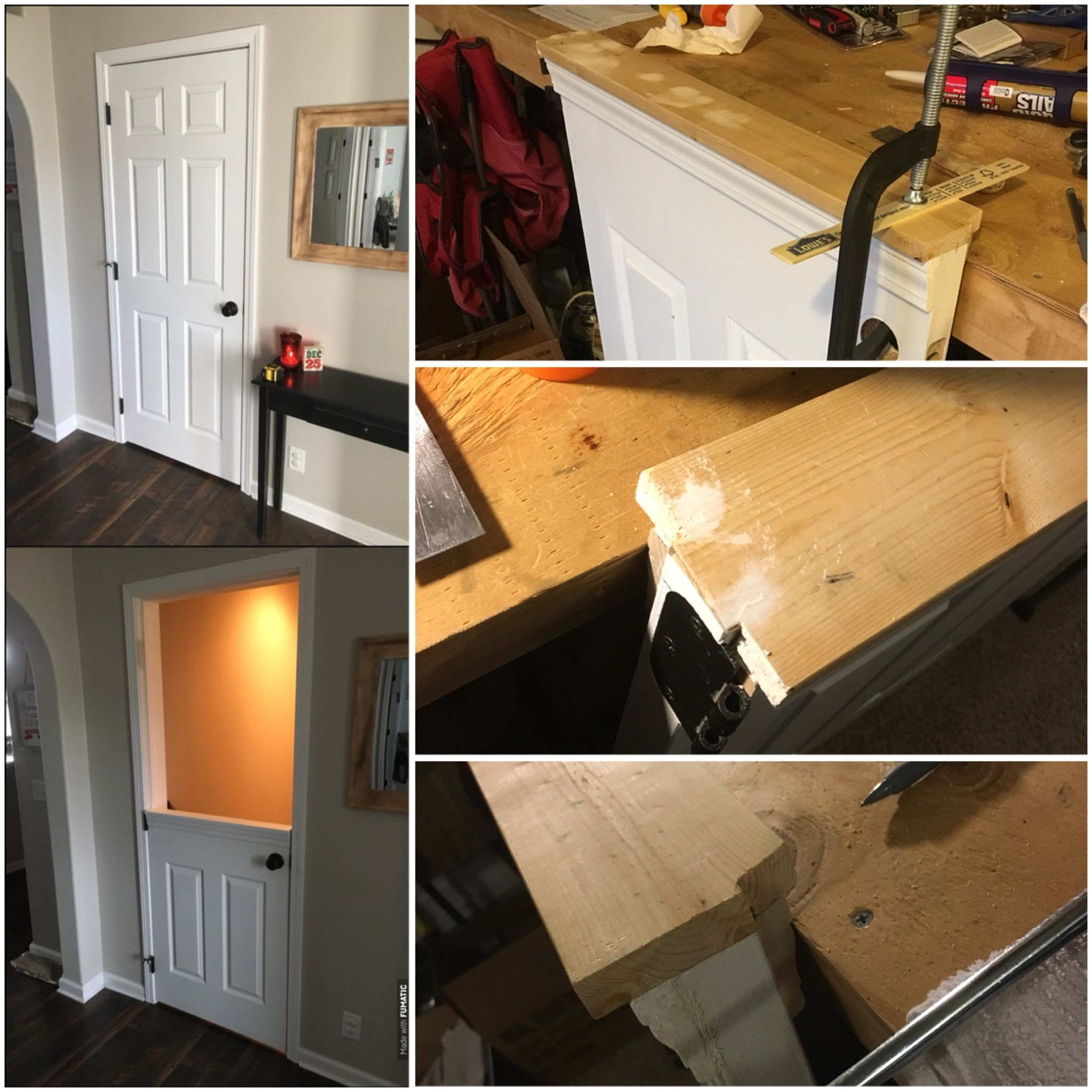 Caulking A Chair Rail Part - 35: Half Dutch Door Conversion For Basement Stairwell Using Original Hollow  Core Door, Chair Rail, And Furring Strip. All Pieces Were Glued And Finish  Nailed, ...