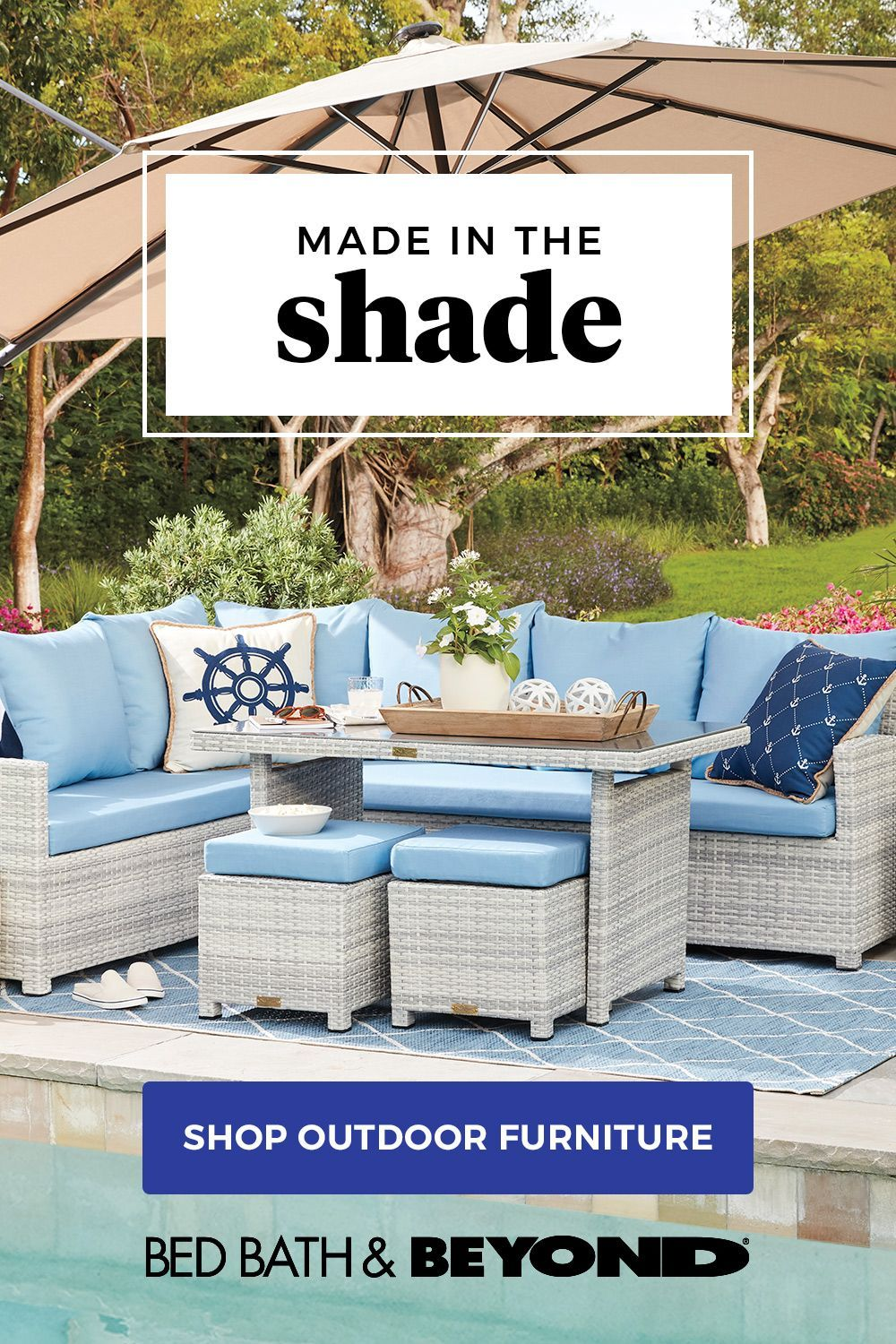 Staycation In The Backyard Build Your Outdoor Escape With Warm Weather Furnishings Like Outdoor Furniture Sets Rustic Bedroom Furniture Backyard Patio Designs