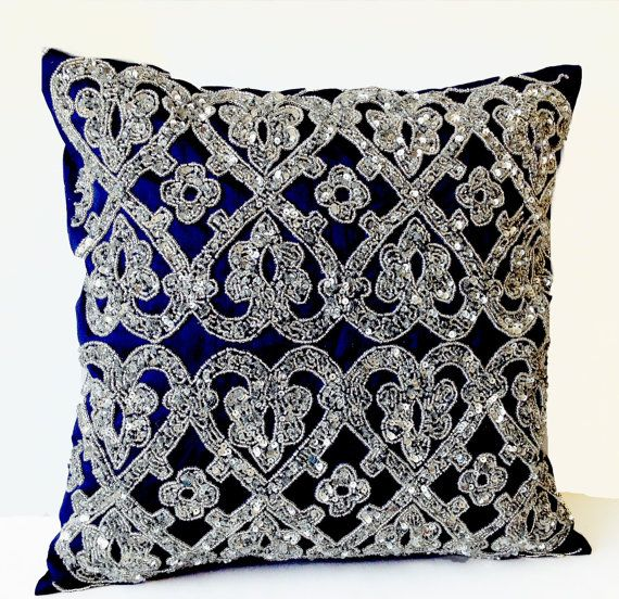Navy Blue Throw Pillow Silver Bead Pillow Silk Pillow Steel Cushion Wedding Anniversary Gifts Vintage Decor Pil Silver Pillows Beaded Pillow Throw Pillows