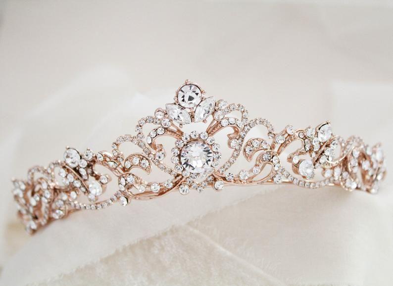 Rose Gold Leaf Tiara Arielle Rose Gold wedding Headpiece Rose Gold Pearl /& Diamante Leaf Wedding Tiara