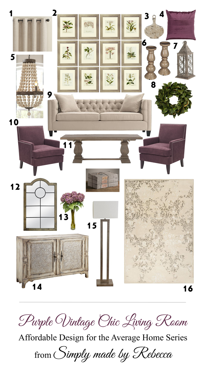 This Room Is Decorated With Free Printable Art And Affordable Furniture From Sites Like Wayfair Com Ta Chic Living Room Vintage Living Room Purple Dining Room
