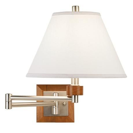 Brushed steel and wood plug in swing arm wall lamp mozeypictures Gallery