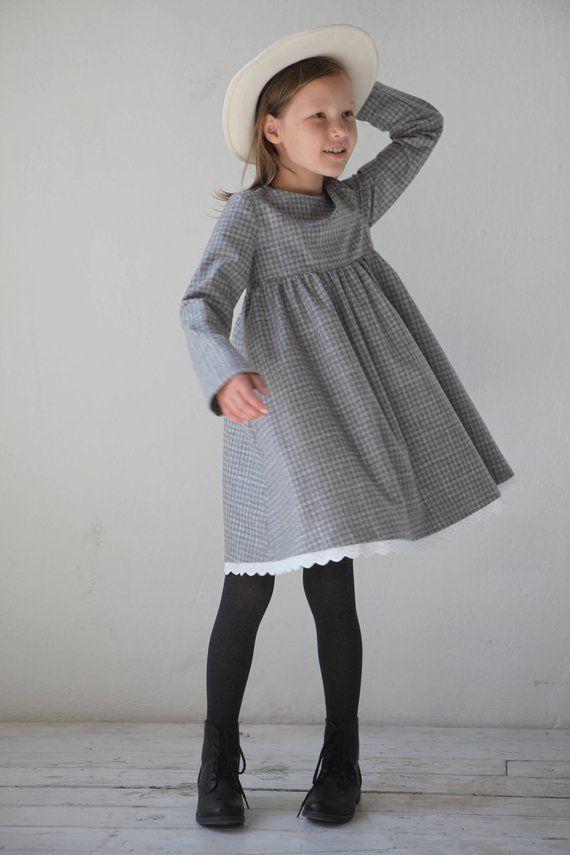 Girls dress Girls wool dress Toddler girl dress Girls clothes Grey  checkered tweed dress Winter dres 6d7eb5da0185