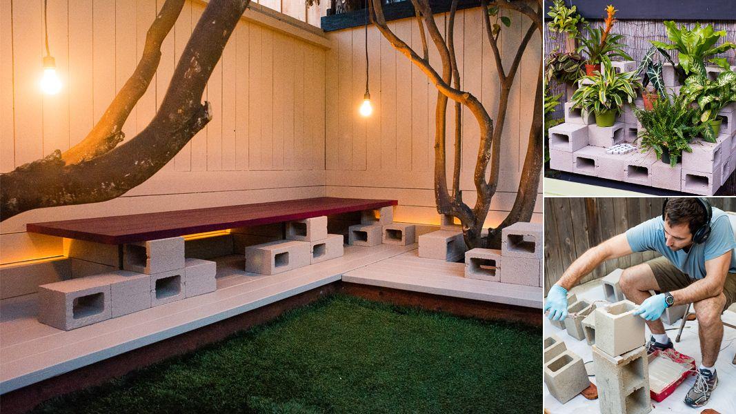Concrete Bench Outdoor Cinder Blocks