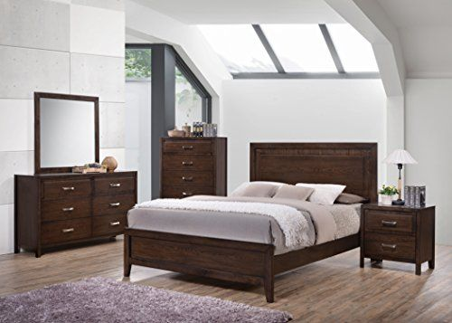 Kings Brand Furniture Cappuccino Finish Wood Queen Size Bedroom