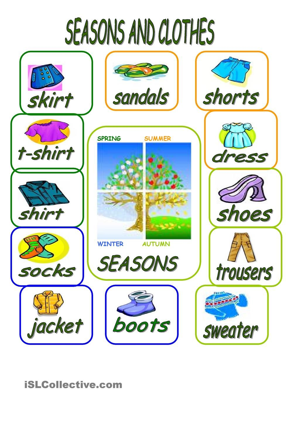 Workbooks weather expressions in spanish worksheets : CLOTHES AND SEASONS-PICTIONARY worksheet - Free ESL printable ...