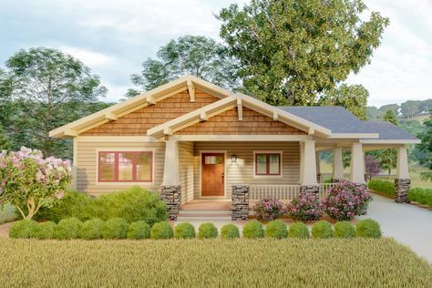 Plan 18300be Delightful 2 Bed Space Saving Bungalow House Plan Bungalow House Plans Architectural Design House Plans Craftsman House