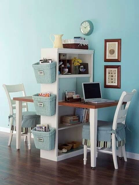 Turn an old bookcase into a homework station for kids. Suuuch a clever idea! saves so much space! could be used for adult desk/kid desk duo too. & Top 40 Tricks and DIY Projects to Organize Your Office | Desks Room ...