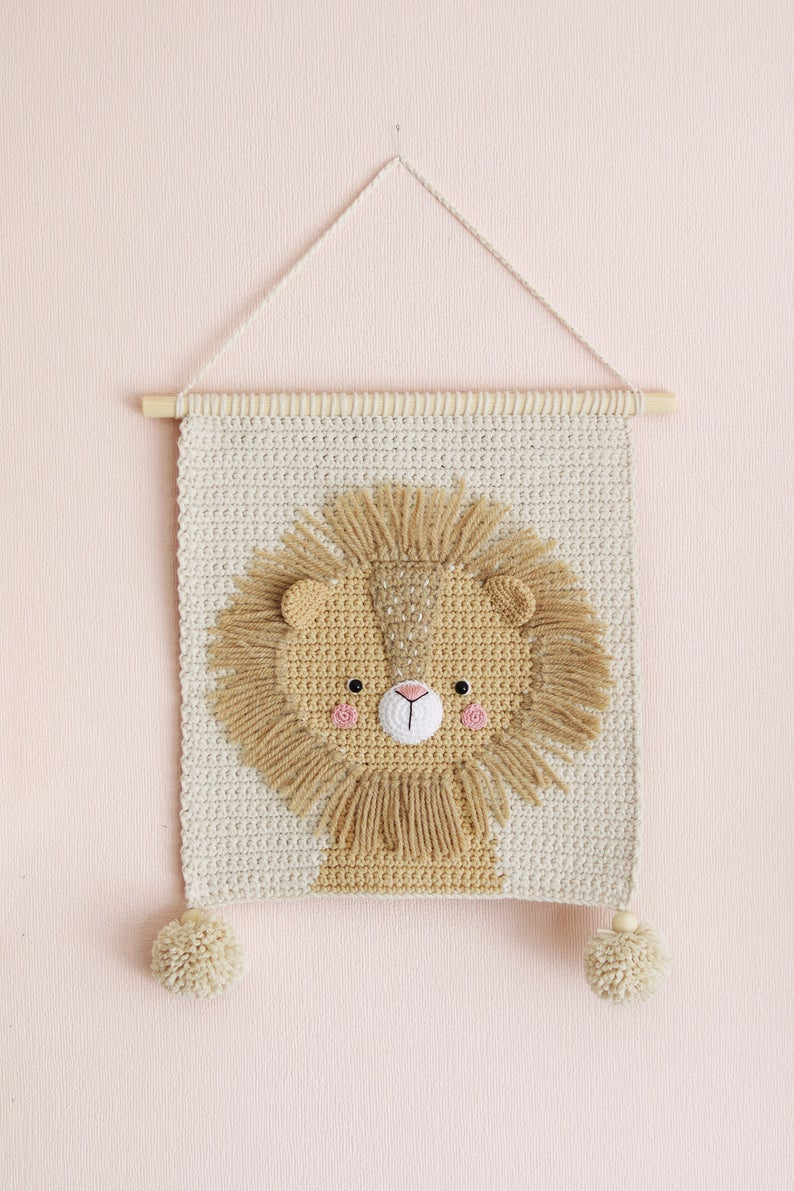Wall Hanging Wall Decor Crochet Decor Nursery Wall Decor Nursery Wall Hanging Crochet Lion Crochet Wall Decor Kids Room Decor Haken Breien En Haken Breien Haken