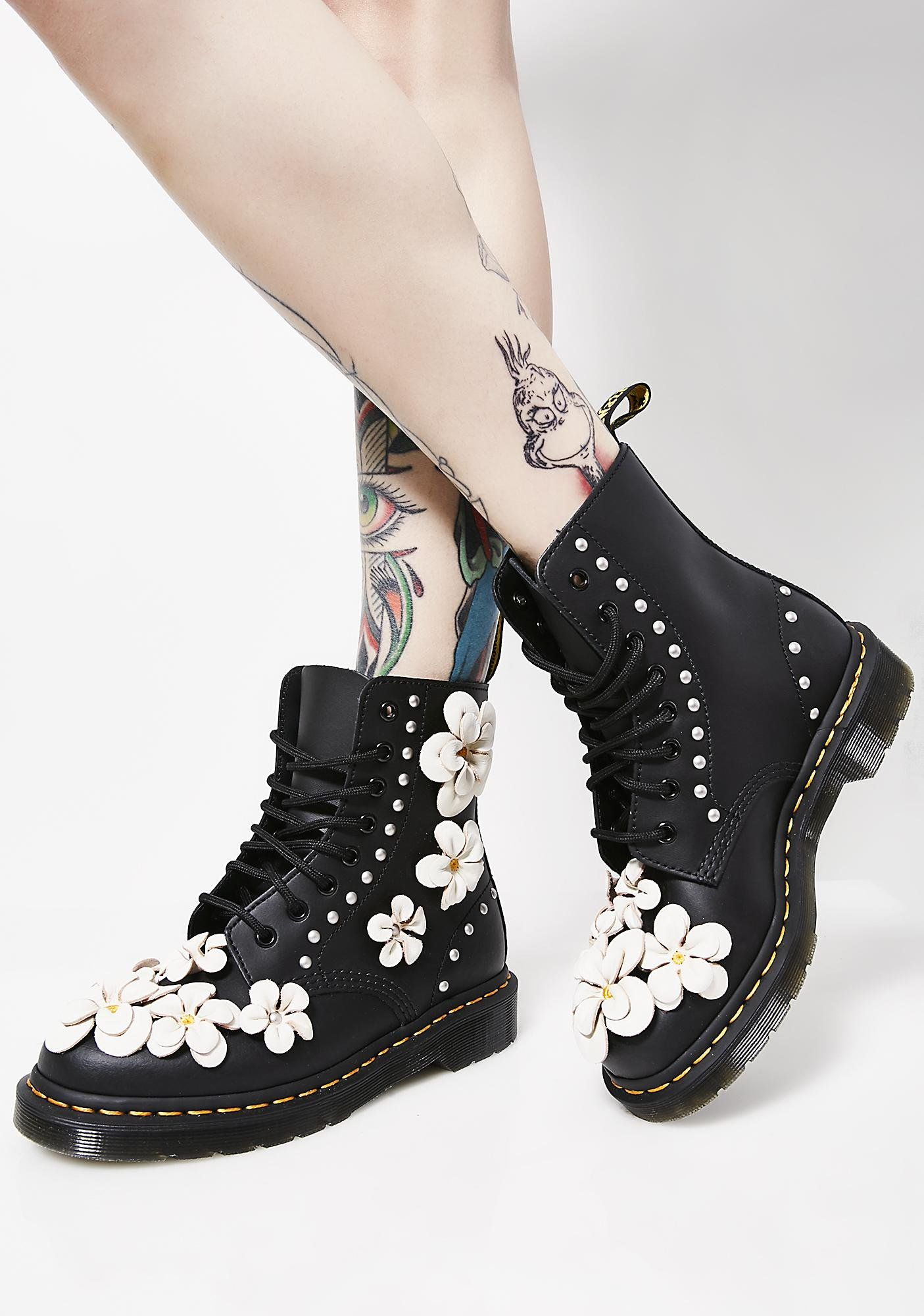 09239e2acccb Dr. Martens 1460 Pascal Flower Boots cuz you re fresher than a daisy. Feel  cool af with these leather combat boots that have a floral applique N   silver ...